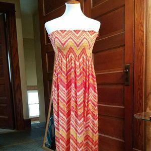 Faded Glory Strapless Smocking Maxi Dress. Sz L